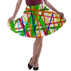 Colorful lines A-line Skater Skirt