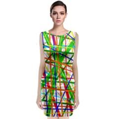 Colorful lines Classic Sleeveless Midi Dress