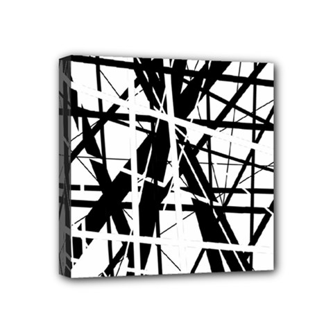 Black and white abstract design Mini Canvas 4  x 4