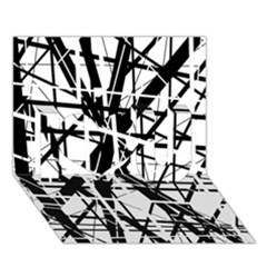 Black and white abstract design I Love You 3D Greeting Card (7x5)