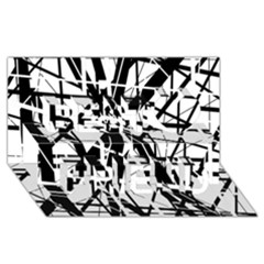 Black and white abstract design Best Friends 3D Greeting Card (8x4)
