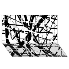 Black and white abstract design Twin Hearts 3D Greeting Card (8x4)