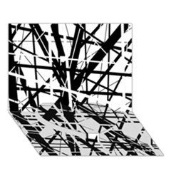 Black and white abstract design Heart Bottom 3D Greeting Card (7x5)