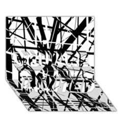 Black and white abstract design YOU ARE INVITED 3D Greeting Card (7x5)