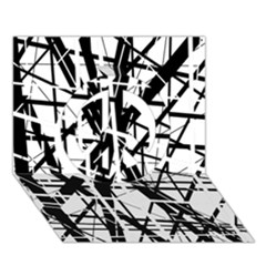 Black and white abstract design Peace Sign 3D Greeting Card (7x5)