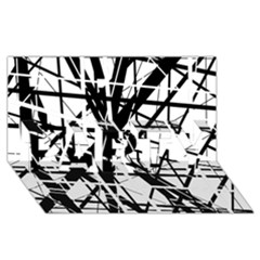 Black and white abstract design PARTY 3D Greeting Card (8x4)
