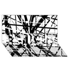 Black and white abstract design BELIEVE 3D Greeting Card (8x4)
