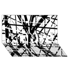 Black and white abstract design SORRY 3D Greeting Card (8x4)