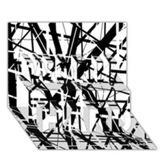 Black and white abstract design WORK HARD 3D Greeting Card (7x5)