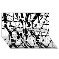 Black and white abstract design Happy New Year 3D Greeting Card (8x4)