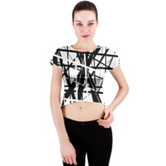 Black and white abstract design Crew Neck Crop Top