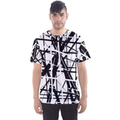 Black and white abstract design Men s Sport Mesh Tee