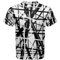 Black and white abstract design Men s Cotton Tee