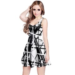 Black and white abstract design Reversible Sleeveless Dress