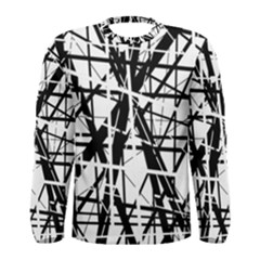 Black and white abstract design Men s Long Sleeve Tee