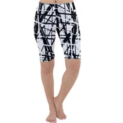 Black and white abstract design Cropped Leggings