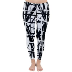 Black and white abstract design Winter Leggings