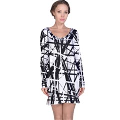 Black and white abstract design Long Sleeve Nightdress