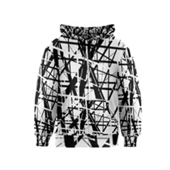 Black and white abstract design Kids  Zipper Hoodie
