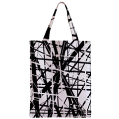 Black and white abstract design Zipper Classic Tote Bag