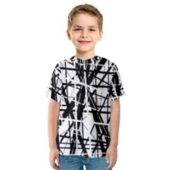 Black and white abstract design Kid s Sport Mesh Tee