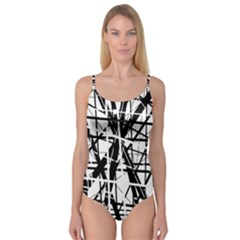 Black and white abstract design Camisole Leotard