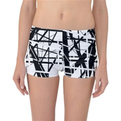 Black and white abstract design Reversible Boyleg Bikini Bottoms