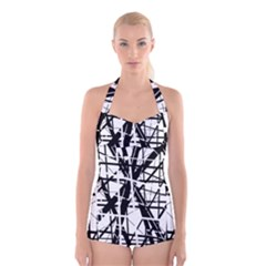 Black and white abstract design Boyleg Halter Swimsuit