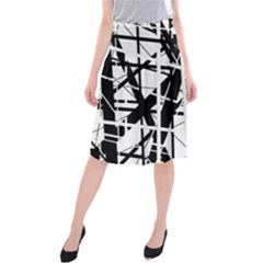 Black and white abstract design Midi Beach Skirt