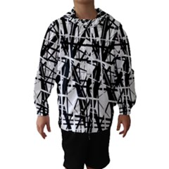 Black And White Abstract Design Hooded Wind Breaker (kids)
