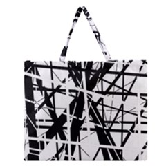 Black And White Abstract Design Zipper Large Tote Bag