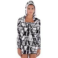 Black and white abstract design Women s Long Sleeve Hooded T-shirt