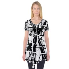 Black and white abstract design Short Sleeve Tunic