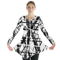 Black and white abstract design Long Sleeve Tunic