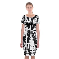 Black and white abstract design Classic Short Sleeve Midi Dress