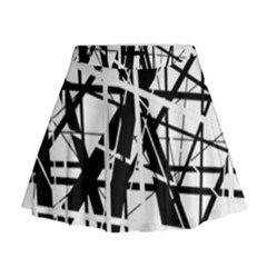 Black And White Abstract Design Mini Flare Skirt