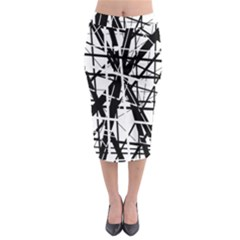 Black and white abstract design Midi Pencil Skirt