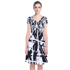 Black and white abstract design Short Sleeve Front Wrap Dress
