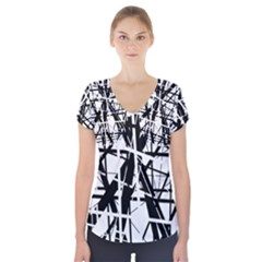 Black and white abstract design Short Sleeve Front Detail Top