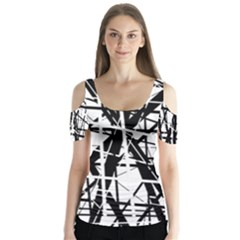 Black and white abstract design Butterfly Sleeve Cutout Tee
