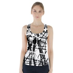 Black and white abstract design Racer Back Sports Top