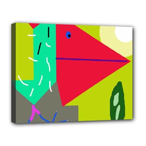Abstract bird Canvas 14  x 11