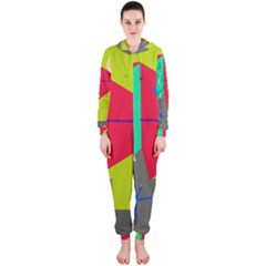 Abstract bird Hooded Jumpsuit (Ladies)