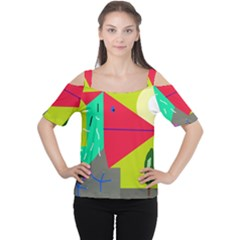 Abstract Bird Women s Cutout Shoulder Tee
