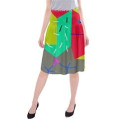 Abstract bird Midi Beach Skirt