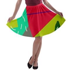 Abstract bird A-line Skater Skirt