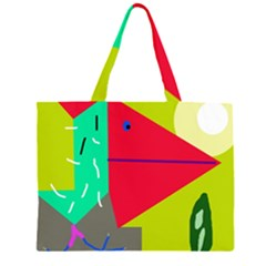 Abstract Bird Zipper Large Tote Bag