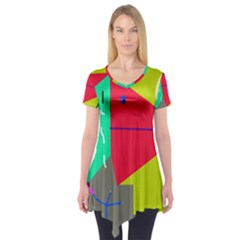Abstract bird Short Sleeve Tunic
