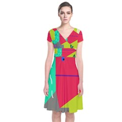 Abstract bird Short Sleeve Front Wrap Dress