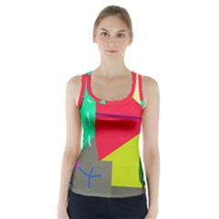 Abstract bird Racer Back Sports Top